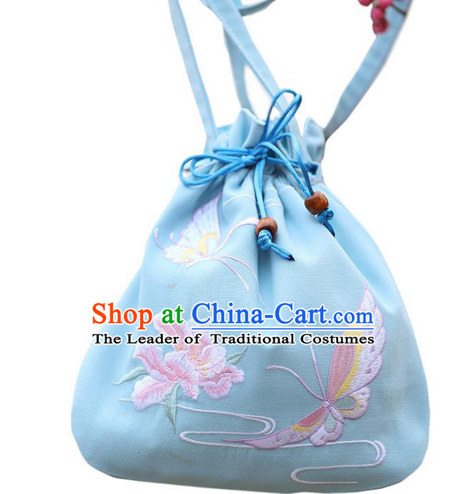 Traditional Ancient Chinese Young Lady Elegant Embroidered Butterfly Blue Handbags Cloth Bags for Women