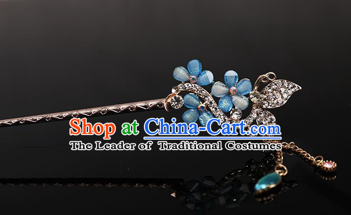 Traditional Handmade Chinese Ancient Classical Hair Accessories Bride Wedding Barrettes, Blue Hair Sticks Hair Jewellery, Hair Fascinators Hairpins for Women