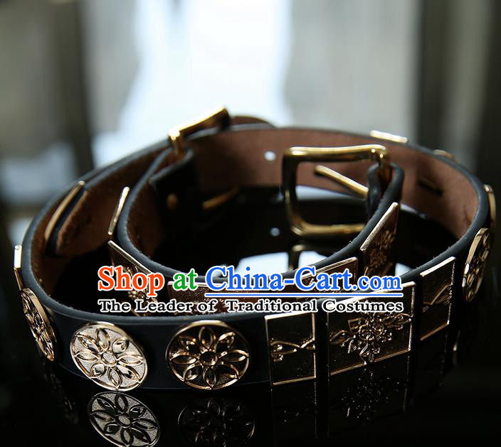 Traditional Handmade Chinese Ancient Classical Belts, China Ming Dynasty Leather Belt for Men