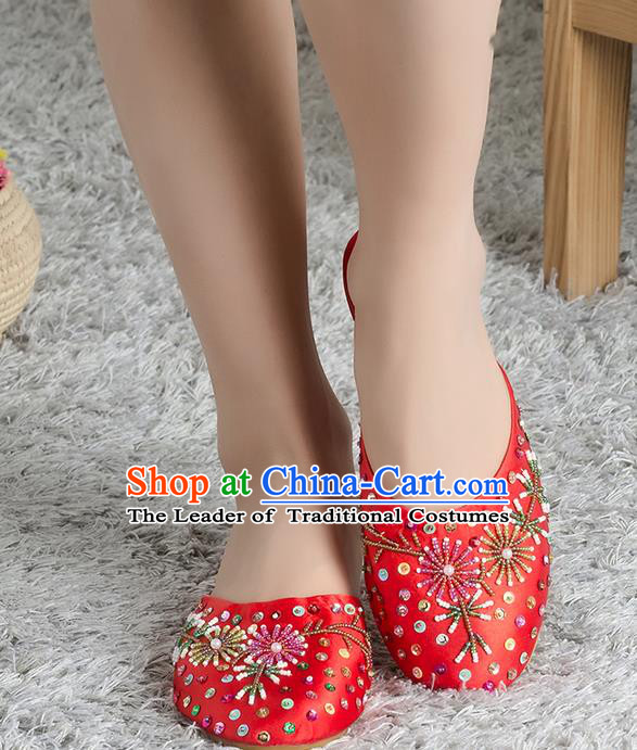 Traditional Chinese Shoes, China Handmade Linen Embroidered Beads Sequins Red Slippers, Ancient Princess Satin Cloth Shoes for Women