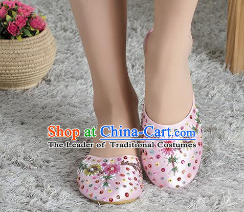 Traditional Chinese Shoes, China Handmade Linen Embroidered Beads Sequins Pink Slippers, Ancient Princess Satin Cloth Shoes for Women