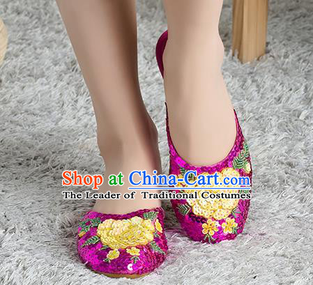 Traditional Chinese Shoes, China Handmade Linen Embroidered Beads Sequins Flowers Rose Slippers, Ancient Princess Satin Cloth Shoes for Women