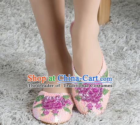 Traditional Chinese Shoes, China Handmade Linen Embroidered Beads Sequins Flowers Pink Slippers, Ancient Princess Satin Cloth Shoes for Women
