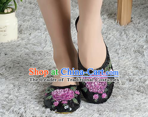 Traditional Chinese Shoes, China Handmade Linen Embroidered Beads Sequins Flowers Black Slippers, Ancient Princess Satin Cloth Shoes for Women