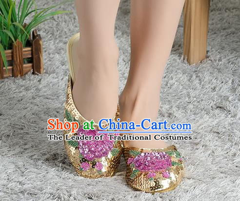 Traditional Chinese Shoes, China Handmade Linen Embroidered Beads Sequins Flowers Golden Slippers, Ancient Princess Satin Cloth Shoes for Women