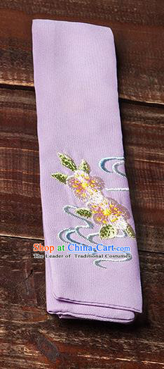 Traditional Ancient Chinese Young Lady Elegant Embroidered Peach Blossom Purple Snood Hairlace Bandeau for Women
