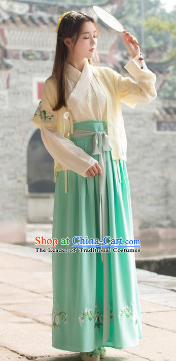 Traditional Ancient Chinese Costume, Elegant Hanfu Clothing Embroidered Yellow Half-Sleeves, China Han Dynasty Princess Elegant Clothing for Women