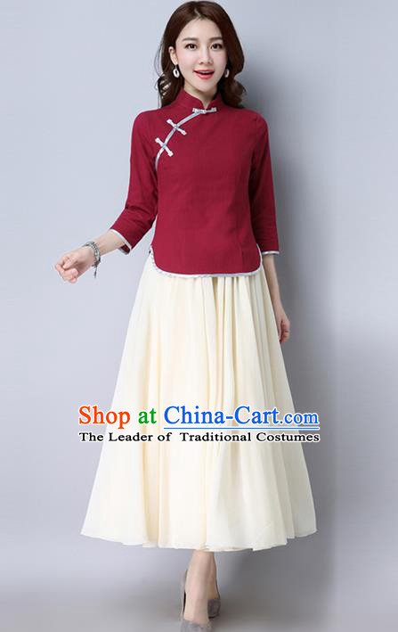 Traditional Chinese National Costume, Elegant Hanfu Red Slant Opening Blouse, China Tang Suit Retro Plated Buttons Chirpaur Blouse Cheong-sam Upper Outer Garment Qipao Shirts Clothing for Women
