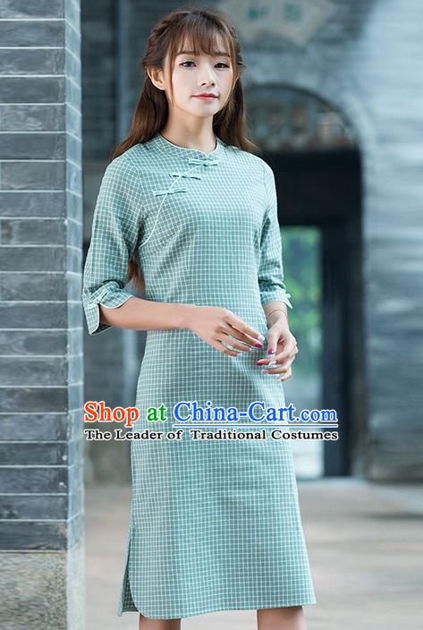 Traditional Ancient Chinese National Costume, Elegant Hanfu Mandarin Qipao Dress, China Tang Suit Chirpaur Republic of China Cheongsam Upper Outer Garment Elegant Dress Clothing for Women