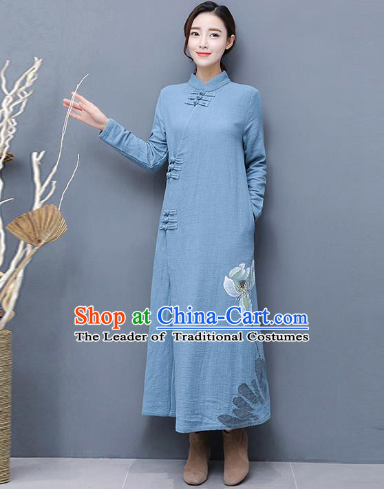 Traditional Ancient Chinese National Costume, Elegant Hanfu Mandarin Qipao Linen Hand Painting Blue Dress, China Tang Suit Chirpaur Republic of China Cheongsam Upper Outer Garment Elegant Dress Clothing for Women