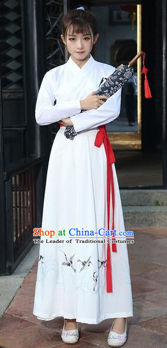 Traditional Ancient Chinese Costume, Elegant Hanfu Clothing Embroidered Slant Opening Blouse and Dress, China Tang Dynasty Princess Elegant Blouse and Skirt Complete Set for Women