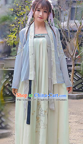 Traditional Ancient Chinese Costume, Elegant Hanfu Clothing Embroidered Slant Opening Blue Blouse and Slip Dress, China Tang Dynasty Princess Elegant Blouse and Skirt Complete Set for Women