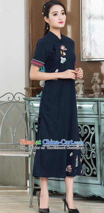 Traditional Ancient Chinese National Costume, Elegant Hanfu Mandarin Qipao Embroidered Navy Dress, China Tang Suit Cheongsam Upper Outer Garment Elegant Dress Clothing for Women