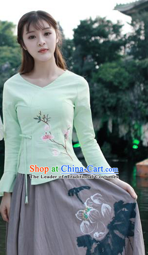 Traditional Chinese National Costume, Elegant Hanfu Embroidery Flowers Slant Opening Green Mandarin Sleeve Shirt, China Tang Suit Plated Buttons Chirpaur Blouse Cheong-sam Upper Outer Garment Qipao Shirts Clothing for Women