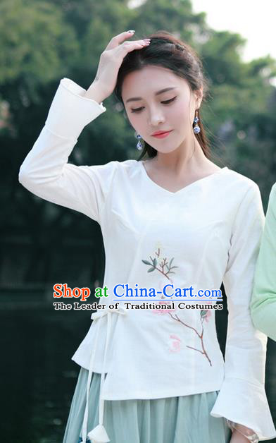 Traditional Chinese National Costume, Elegant Hanfu Embroidery Flowers Slant Opening White Mandarin Sleeve Shirt, China Tang Suit Plated Buttons Chirpaur Blouse Cheong-sam Upper Outer Garment Qipao Shirts Clothing for Women