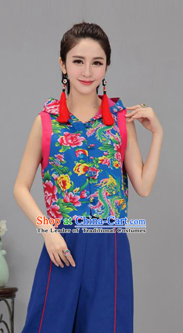 Traditional Chinese National Costume, Elegant Hanfu Vests Blue Shirt, China Tang Suit Plated Buttons Chirpaur Blouse Cheong-sam Upper Outer Garment Qipao Shirts Vest Clothing for Women