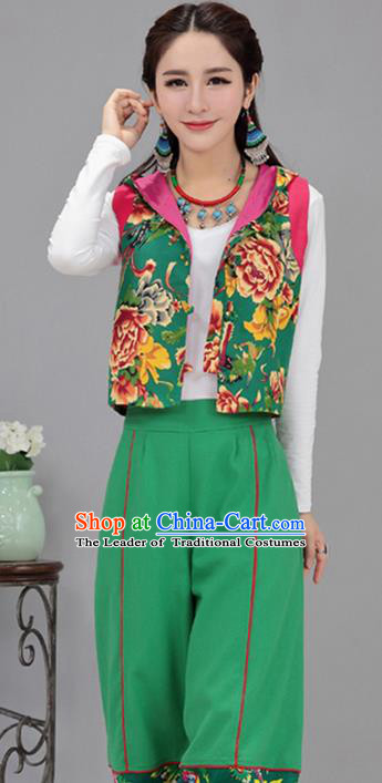Traditional Chinese National Costume, Elegant Hanfu Vests Green Shirt, China Tang Suit Plated Buttons Chirpaur Blouse Cheong-sam Upper Outer Garment Qipao Shirts Vest Clothing for Women