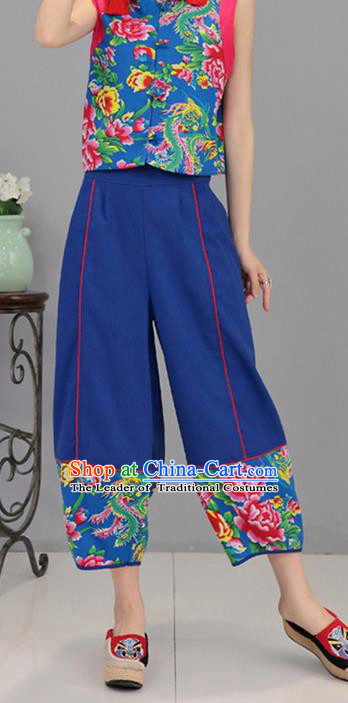 Traditional Chinese National Costume Northeast Cloth Plus Fours, Elegant Hanfu Printing Peony Blue Bloomers, China Ethnic Minorities Tang Suit Pantalettes for Women