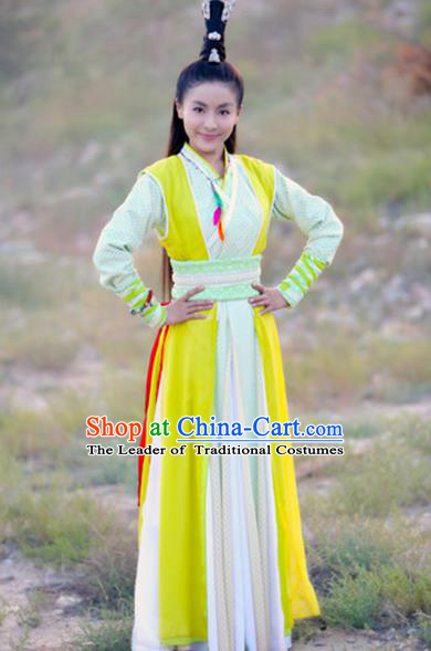 Traditional Ancient Chinese Swordswoman Costume, Chinese Ming Dynasty Chivalrous Woman Dress, Cosplay Chinese Television Drama Vagabondize Princess Hanfu Trailing Embroidery Clothing for Women