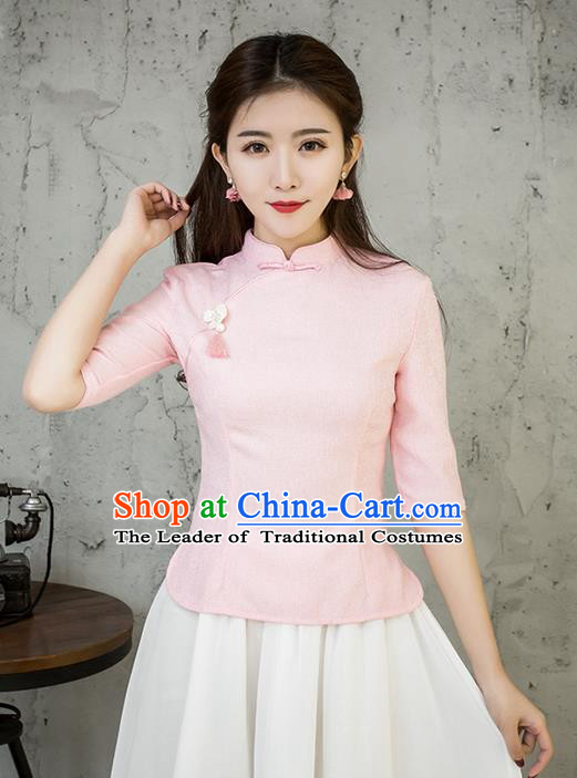 Traditional Chinese National Costume, Elegant Hanfu Embroidery Slant Opening Pink Blouses, China Tang Suit Republic of China Plated Buttons Chirpaur Blouse Cheong-sam Upper Outer Garment Qipao Shirts Clothing for Women