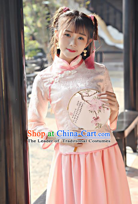 Traditional Chinese National Costume, Elegant Hanfu Embroidery Stand Collar Slant Opening Pink Blouses, China Tang Suit Republic of China Plated Buttons Chirpaur Blouse Cheong-sam Upper Outer Garment Qipao Shirts Clothing for Women