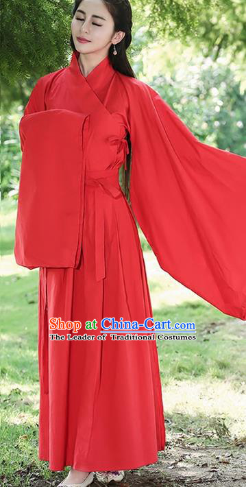 Traditional Ancient Chinese Young Lady Costume Embroidered Song Fringing and Skirt, Elegant Hanfu Curving-Front Unlined Garment Dress Chinese Han Dynasty Imperial Princess Dress Clothing for Women