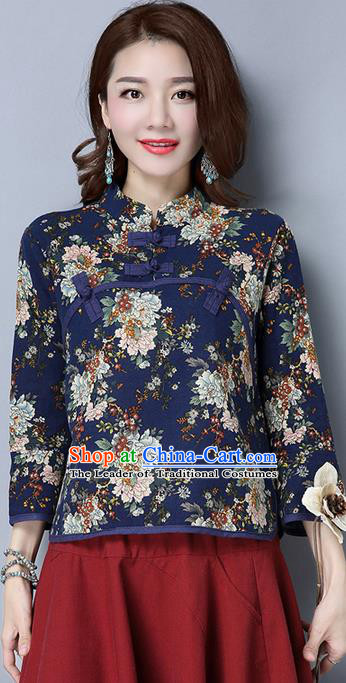 Traditional Chinese National Costume, Elegant Hanfu Embroidery Flowers Slant Opening Shirt, China Tang Suit Plated Buttons Chirpaur Blouse Cheong-sam Upper Outer Garment Qipao Shirts Clothing for Women