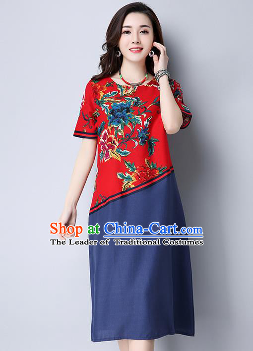Traditional Ancient Chinese National Costume, Elegant Hanfu Printing Red Dress, China Tang Suit Chirpaur Garment Elegant Dress Clothing for Women