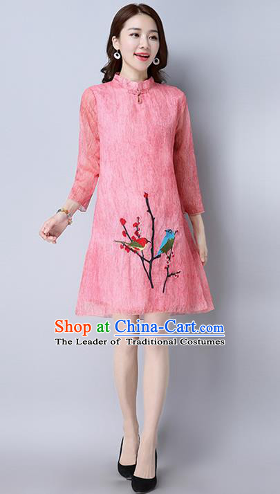 Traditional Ancient Chinese National Costume, Elegant Hanfu Mandarin Qipao Printing Pink Dress, China Tang Suit Cheongsam Upper Outer Garment Elegant Dress Clothing for Women