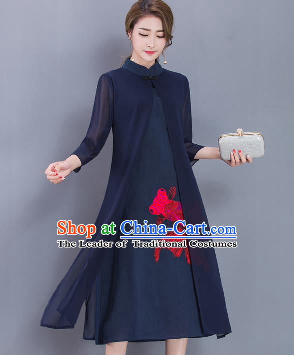 Traditional Ancient Chinese National Costume, Elegant Hanfu Pattern Mandarin Qipao Printing Navy Dress, China Tang Suit Cheongsam Upper Outer Garment Elegant Dress Clothing for Women