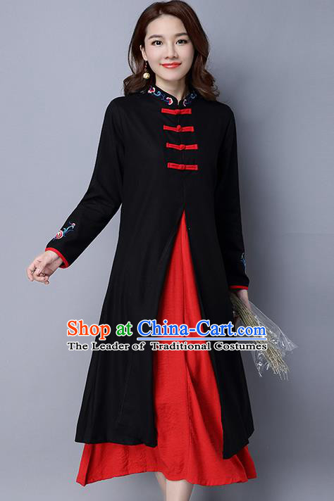 Traditional Ancient Chinese National Costume, Elegant Hanfu Pattern Mandarin Qipao Black Dress, China Tang Suit Cheongsam Upper Outer Garment Elegant Dress Clothing for Women