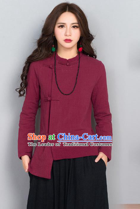 Traditional Chinese National Costume, Elegant Hanfu Linen Slant Opening Red T-Shirt, China Tang Suit Republic of China Plated Buttons Chirpaur Blouse Cheong-sam Upper Outer Garment Qipao Shirts Clothing for Women