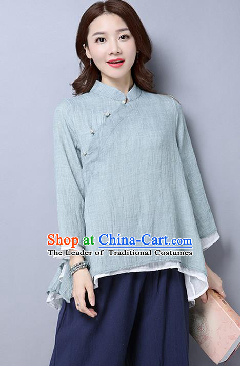 Traditional Chinese National Costume, Elegant Hanfu Linen Slant Opening Grey T-Shirt, China Tang Suit Republic of China Chirpaur Blouse Cheong-sam Upper Outer Garment Qipao Shirts Clothing for Women