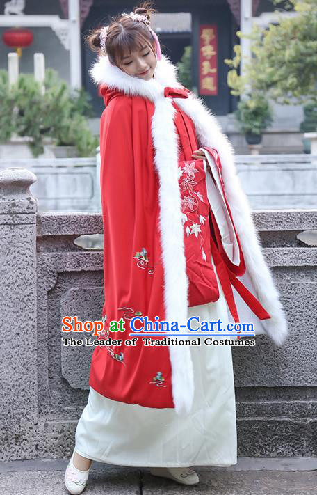 Traditional Chinese Ancient Ming Dynasty Princess Mantle Red Cape for Women