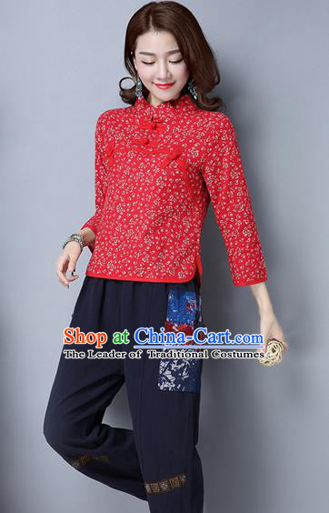 Traditional Chinese National Costume, Elegant Hanfu Embroidery Flowers Slant Opening Red Shirt, China Tang Suit Plated Buttons Chirpaur Blouse Cheong-sam Upper Outer Garment Qipao Shirts Clothing for Women