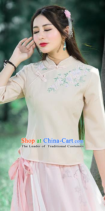 Traditional Chinese National Costume, Elegant Hanfu Embroidery Flowers Slant Opening Apricot Blouses, China Tang Suit Republic of China Plated Buttons Chirpaur Blouse Cheong-sam Upper Outer Garment Qipao Shirts Clothing for Women