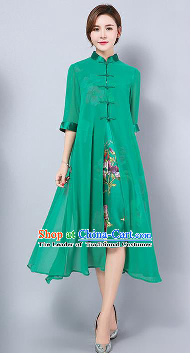 Traditional Ancient Chinese National Costume, Elegant Hanfu Mandarin Qipao Green Cardigan Dress, China Tang Suit Chirpaur Republic of China Cheongsam Upper Outer Garment Elegant Dress Clothing for Women