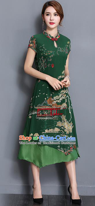 Traditional Ancient Chinese National Costume, Elegant Hanfu Mandarin Qipao Printing Green Dress, China Tang Suit Chirpaur Republic of China Cheongsam Upper Outer Garment Elegant Dress Clothing for Women