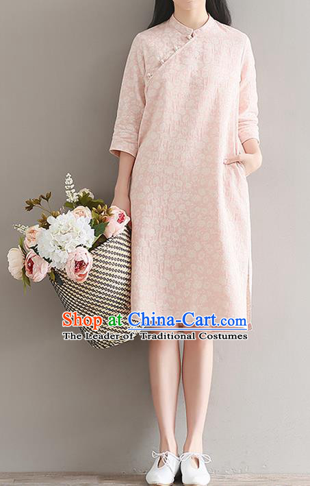 Traditional Ancient Chinese National Costume, Elegant Hanfu Mandarin Qipao Printing Short Pink Dress, China Tang Suit Chirpaur Republic of China Cheongsam Upper Outer Garment Elegant Dress Clothing for Women