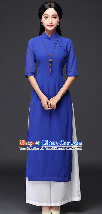Traditional Chinese National Costume, Elegant Hanfu Embroidery EheonBsam Stand Collar Blue Ao Dai Dress, China Tang Suit Cheongsam Upper Outer Garment Elegant Dress Clothing for Women