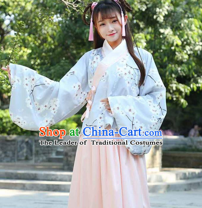 Traditional Ancient Chinese Young Lady Costume Printing Slant Opening Blouse and Slip Skirt Complete Set, Elegant Hanfu Suits Clothing Chinese Ming Dynasty Imperial Princess Dress Clothing for Women