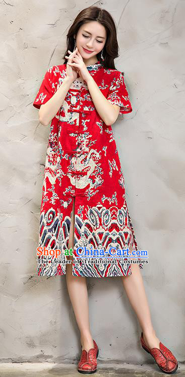 Traditional Chinese National Costume, Elegant Hanfu Plated Buttons Cardigan Long Red Dress, China Tang Suit Cheongsam Upper Outer Garment Elegant Dress Clothing for Women