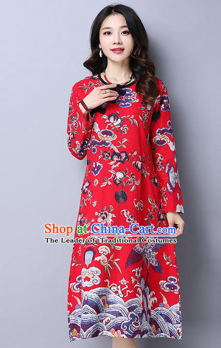 Traditional Chinese National Costume, Elegant Hanfu Plated Buttons Long Red Dress, China Tang Suit Cheongsam Upper Outer Garment Elegant Dress Clothing for Women