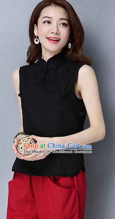 Traditional Chinese National Costume, Elegant Hanfu Linen Plated Buttons Black Vests, China Tang Suit Cheongsam Upper Outer Garment Elegant Waistcoat Clothing for Women