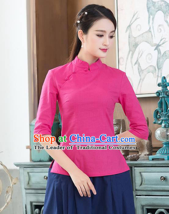 Traditional Chinese National Costume, Elegant Hanfu Linen Plated Buttons Stand Collar Pink Blouse, China Tang Suit Cheongsam Shirts Upper Outer Garment Elegant Blouses for Women