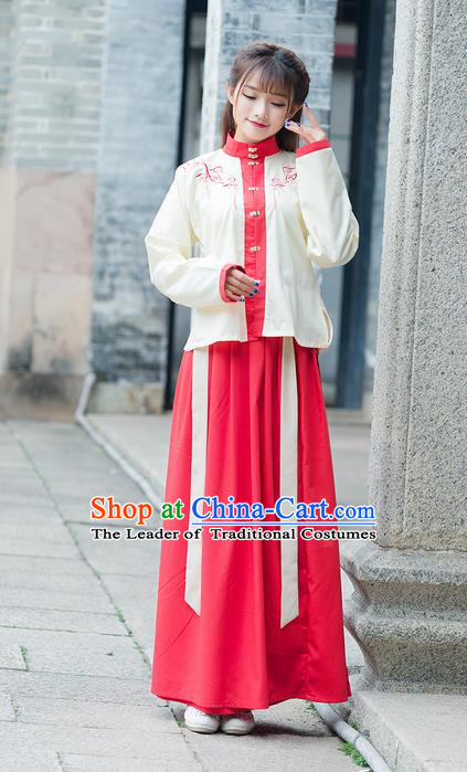 Traditional Ancient Chinese Young Lady Costume Embroidered Front Opening Blouse, Elegant Hanfu Clothing Chinese Ming Dynasty Imperial Princess Clothing for Women