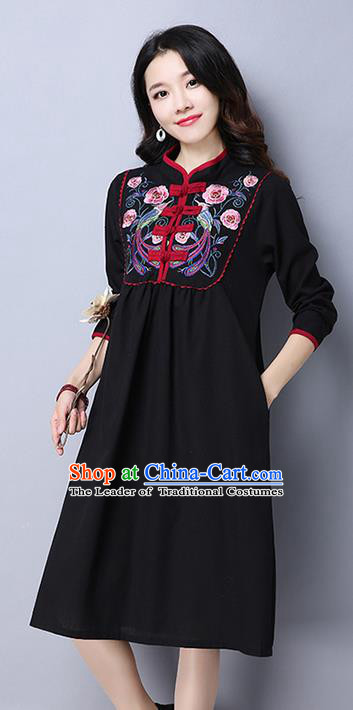 Traditional Ancient Chinese National Costume, Elegant Hanfu Mandarin Qipao Linen Embroidery Black Dress, China Tang Suit Upper Outer Garment Elegant Dress Clothing for Women