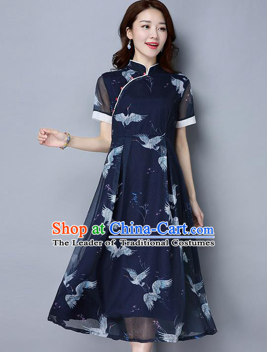 Traditional Ancient Chinese National Costume, Elegant Hanfu Mandarin Qipao Printing Crane Dress, China Tang Suit Upper Outer Garment Elegant Dress Clothing for Women