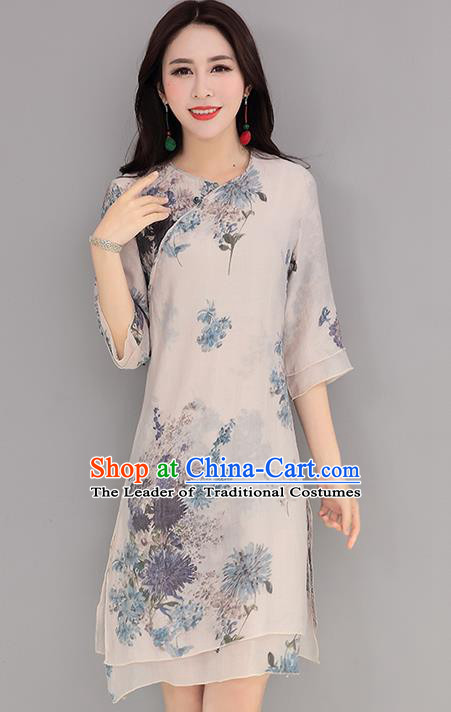 Traditional Ancient Chinese National Costume, Elegant Hanfu Mandarin Qipao Printing Short Dress, China Tang Suit Upper Outer Garment Elegant Dress Clothing for Women