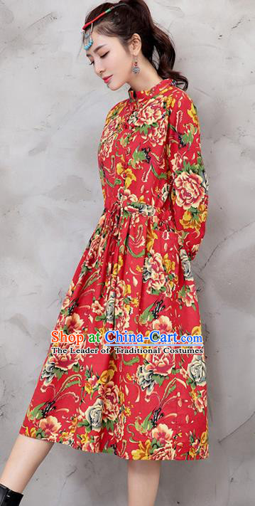 Traditional Chinese National Costume, Elegant Hanfu Northeast Big Flower Red Dress, China Tang Suit Cheongsam Upper Outer Garment Elegant Dress Clothing for Women
